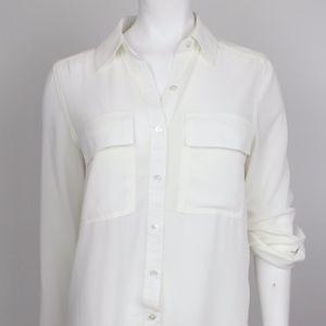 Semi Sheer Minimal Button Down Shirt Blouse NWT S